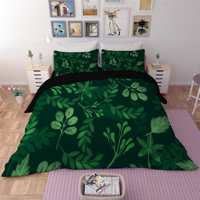 Tropical Plant bedding set Banana leaves green printing bed cover 3