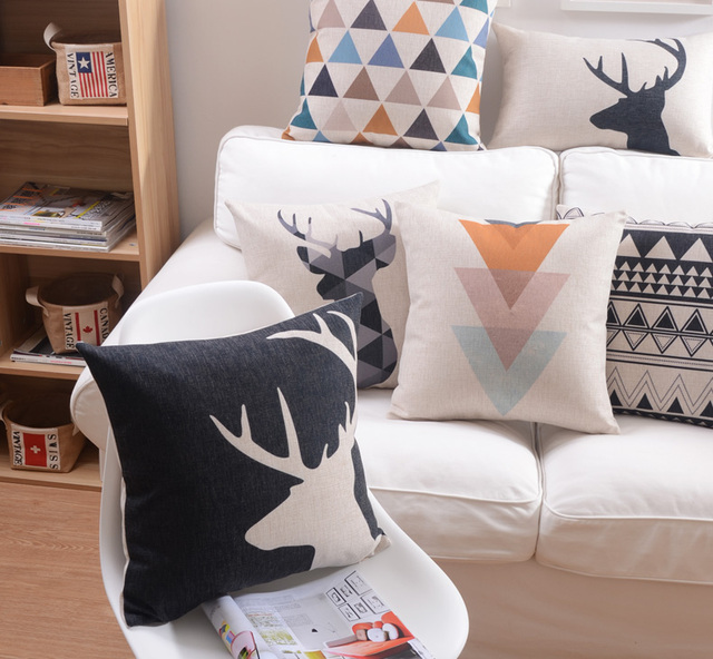 Nordic Simply Geometric Pillow Retro Deer Decorative Sofa Car Chair Cushions  /Throw Pillows /Pillowsham