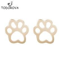 Todorova Cute Dog Cat Paw Earrings Tiny Bear Print Animal Christmas Piercing Statement Jewelry Stud Earrings Women Accessories
