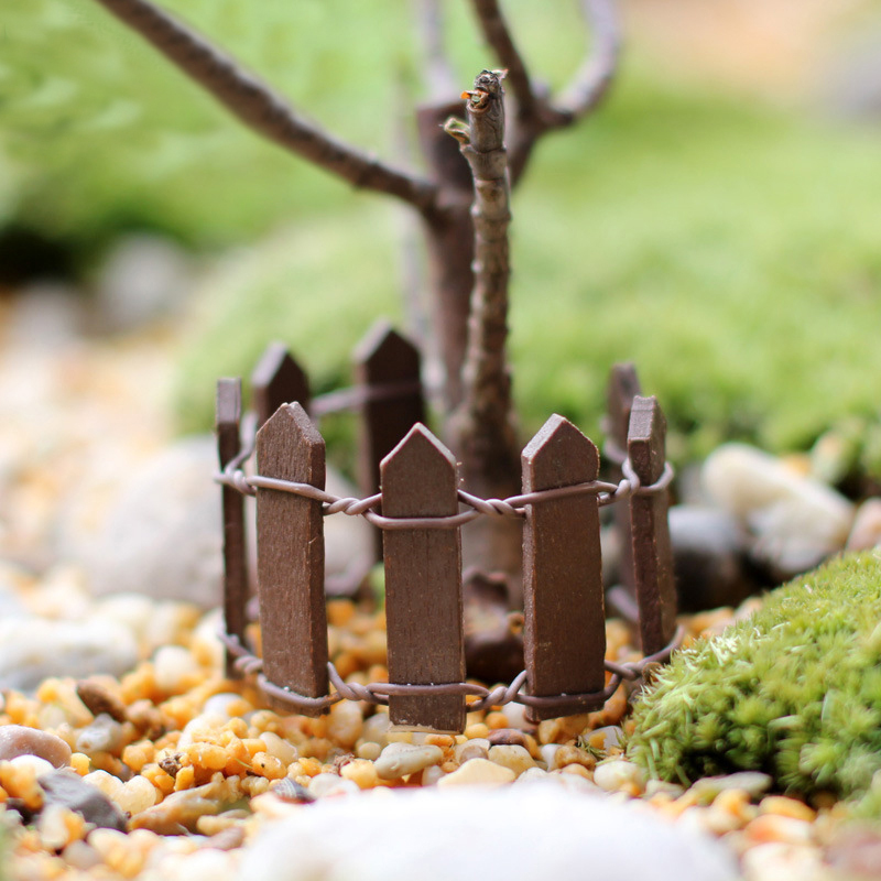 Home Decoration Wooden High Quality Fence Microlandschaft  Kawaii 1PC New Miniatures  Mini 10Colors For Garden Cute Fleshiness