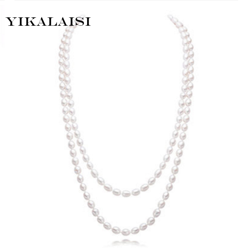 YIKALAISI 2017 Long Multilayer Pearl Necklace Natural Freshwater Pearl Choker Charm Accessories Statement Necklace For Women zhboruini fashion long multilayer pearl necklace freshwater pearl tassels women accessories statement necklace jewelry for women