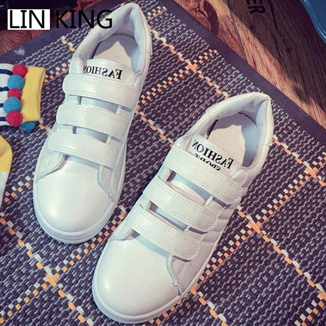 LIN KING New Fashion Women Casual Shoes Hook Loop Solid PU Low Top Ankle Shoes Round Toe Thick Sole Spring Outdoor Walking Shoes