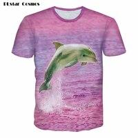 PLstar 코스모스 여름 3d 돌고래 t 셔츠 여성 남성 핑크 t 셔츠 남녀