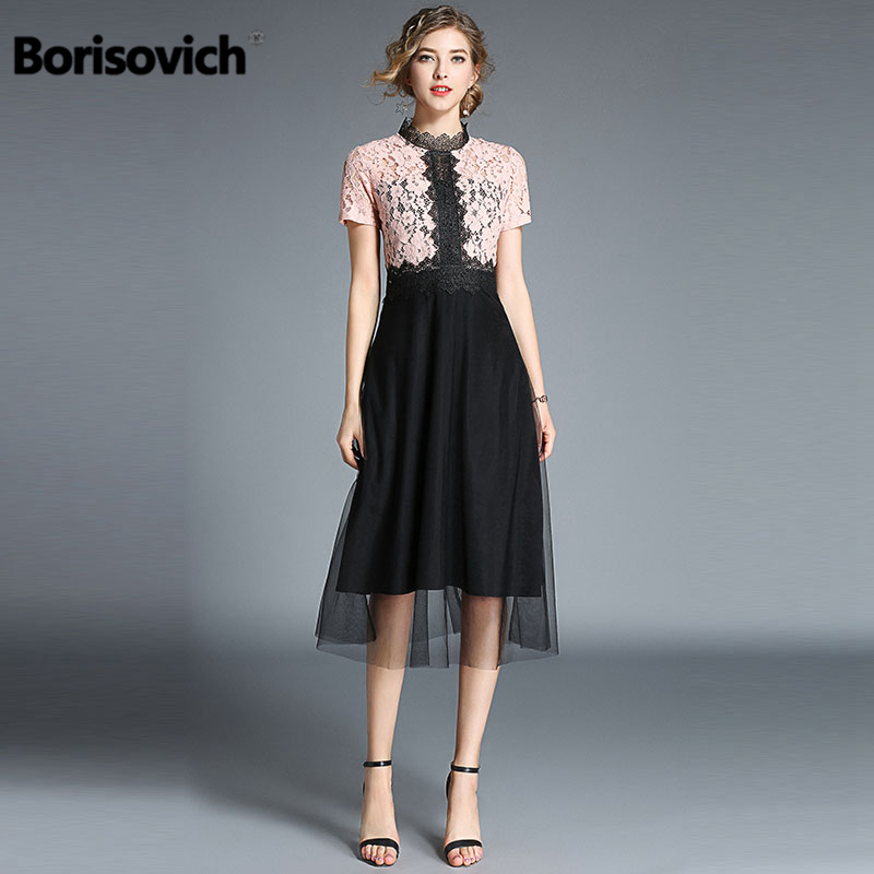 Borisovich New 2018 Summer Fashion Hollow Out Lace Elegant Slim Women Evening Party Dress High Quality Female Dresses M501