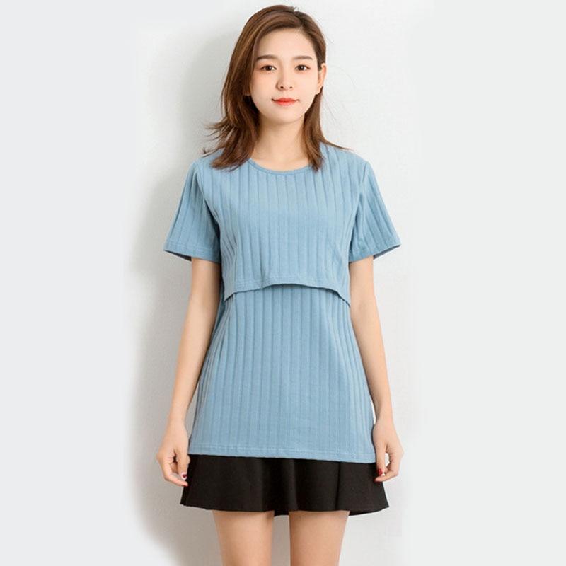Nurisng Tops Maternity Tees Feeding Clothes For Pregnant Women Cotton Short Sleeve T-shirts Pregnancy Breastfeeding Gravidas Top