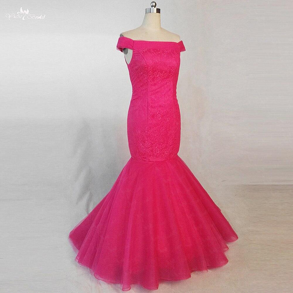 RSE810 Vestito Donna Lungo Pink Plum Color Off Shoulder Lace Dress Mermaid Bridesmaid Dresses Long