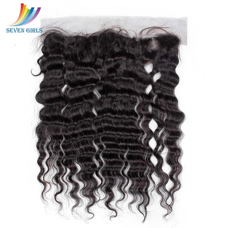 Sevengirls класс 10А перуанские необработанные человеческие волосы пучки с фронтальной 13x4 глубокая волна натуральные волосы линии Frontals Бесплатная доставка