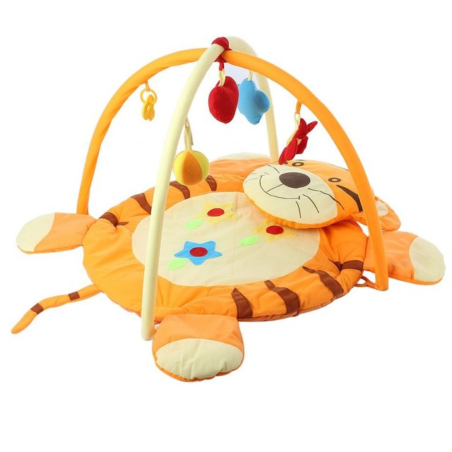 2016 New 0-12 month Educational Baby Soft Play Mat Cartoon Tiger Design Toys Cotton Crawling Game Play Gym Blanket Carpet