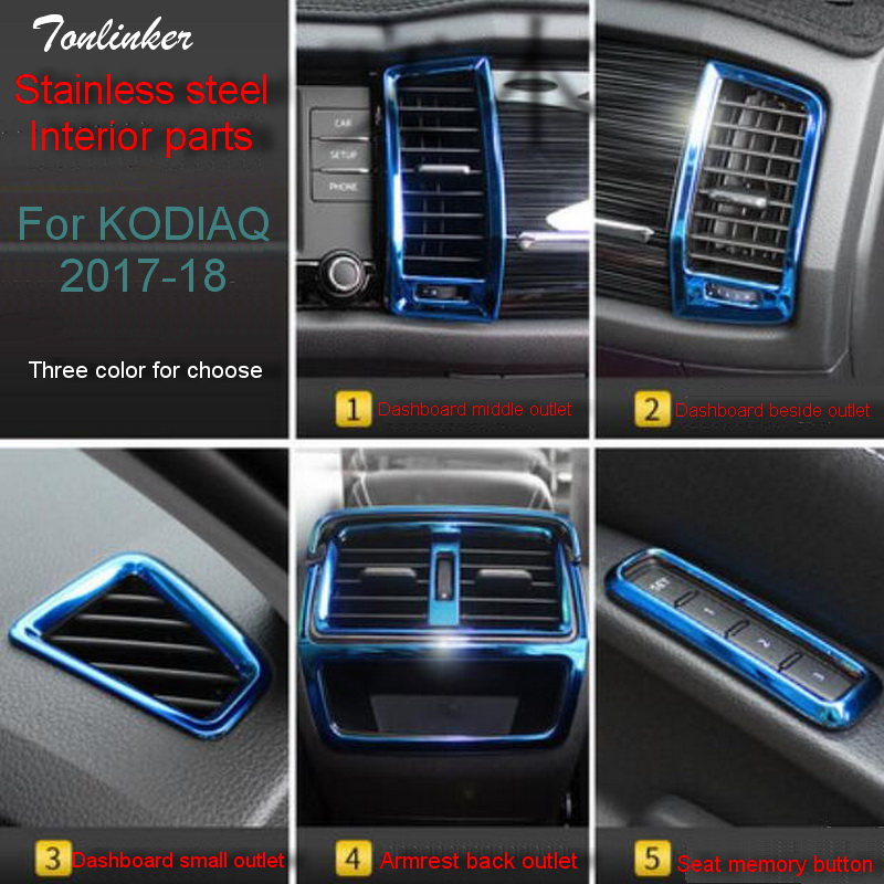 Tonlinker Cover Sticker for SKODA KODIAQ 2017-18 Car Styling 1-3 PCS Stainless steel Interior Parts Decoration Cover stickers