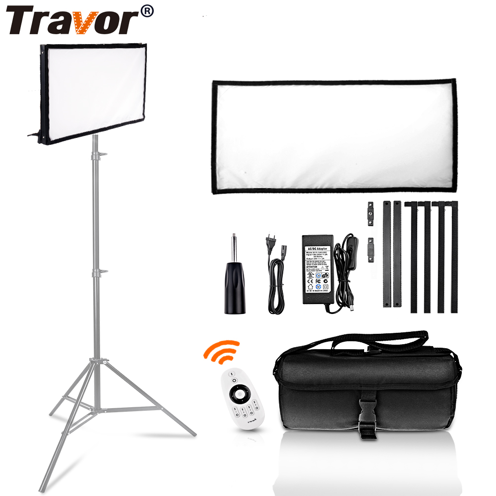 Travor FL-3060A LED Video Light 30*60CM Flexible Panel Light 3200K/5500K Studio Photography Lighting With 2.4G Remote Control travor flexible led video light fl 3060 size 30 60cm cri95 5500k with 2 4g remote control for video shooting