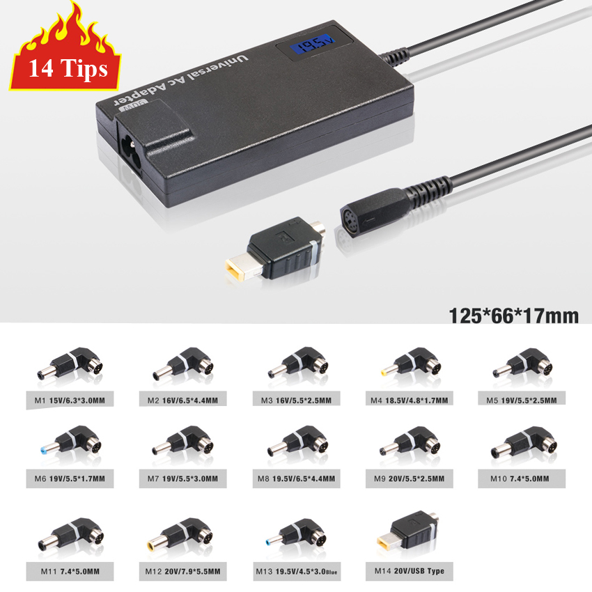 цена на 14 Detachable Tips 90W Slim Universal Laptop AC Adapter Charger Notebook Power Supply With 5V 2A USB Port