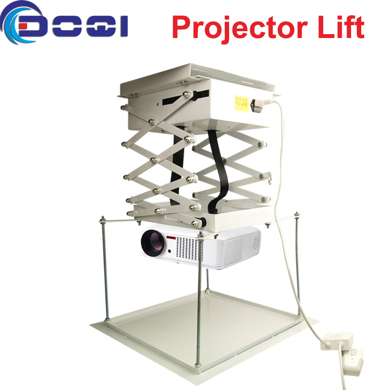 High Quality Motorized Scissor Projector Lift 1M Remote Control Electric Ceiling Mount Bracket For Cinema Church Hall School luxury motorized electric tab tension 139inch 16 10 matte white home theater high quality cinema projector screen