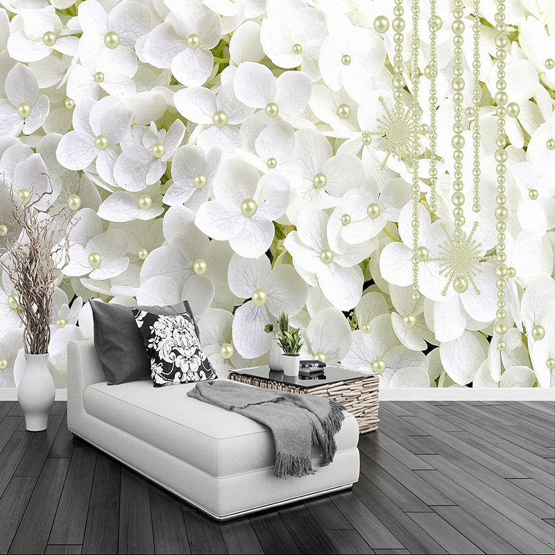 Modern Abstract White Pearl Jewelry Flowers 3D Stereo Mural Wallpaper Living Room Bedroom Backdrop Art Wall Papers For Walls 3 D