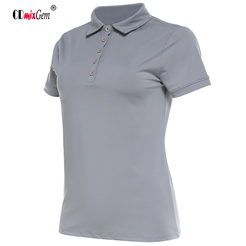Women Sports Running T-shirt Lapel Top Shirts Golf T-shirt Summer Short-sleeved POLO Tennis T-shirt