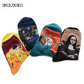 European Art Sock Painting Socks Famous Women Madam Fashion Casual Vintage Classic Oil Lady Printed Cotton Female Tube Sock W029