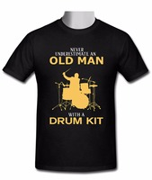 Stylish Crew Neck 100 Cotton New Never Underestimate An Old Man With A Drum Kit T