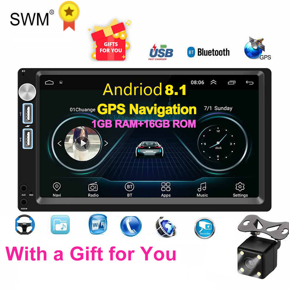 Car Radio Android 8.1 Autoradio 2din MP5 GPS Stereo Receiver 2 Din Car Stereo Audio Radio Para Coche MirrorLink Wifi Rear Camera(China)