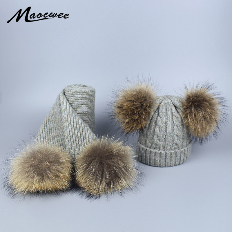 Women Pompon Beanies Hats And Scarves Set Kids Boys Girls Autumn Winter Raccoon Fur Pompom Wool Knitted Skullies Hats Caps Bones