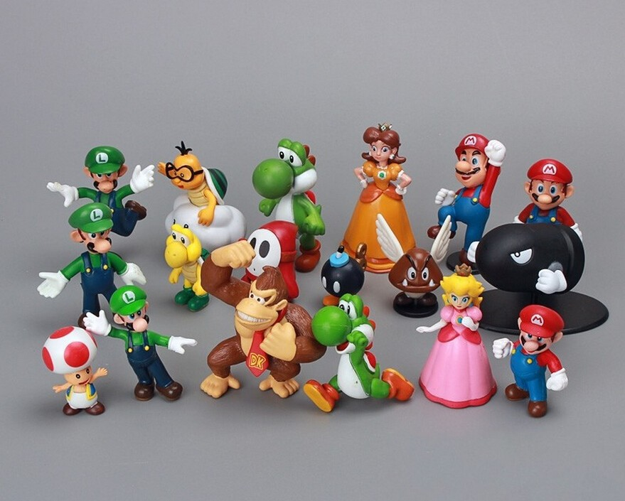 18pcs/set Super Mario Bros 1set 1″-2.5″ yoshi dinosaur Figure toy Super mario yoshi action figure PVC retai for child birthday