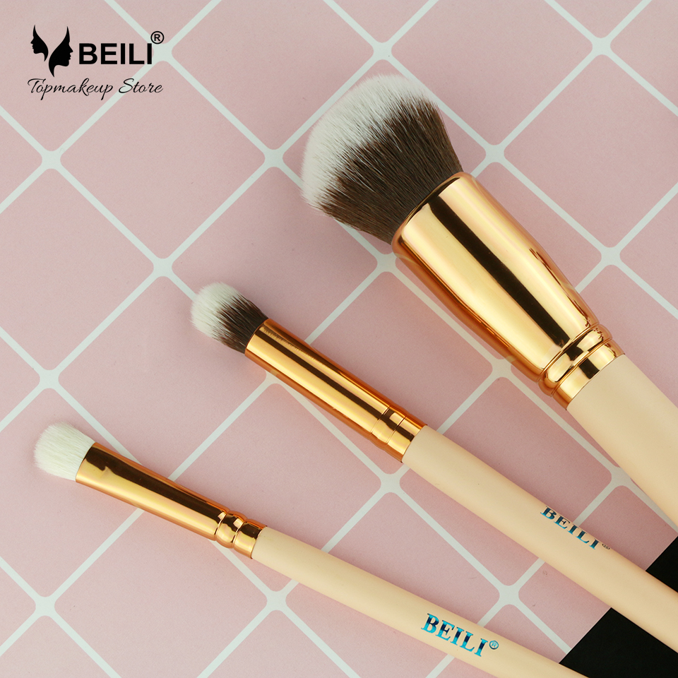 BEILI 3pcs Synthetic and Goat Hair Foundation Concealer Smoky Eye Shadow Small Makeup Brush Set 70cm ladies wigs ice and fire song dragon mother synthetic hair