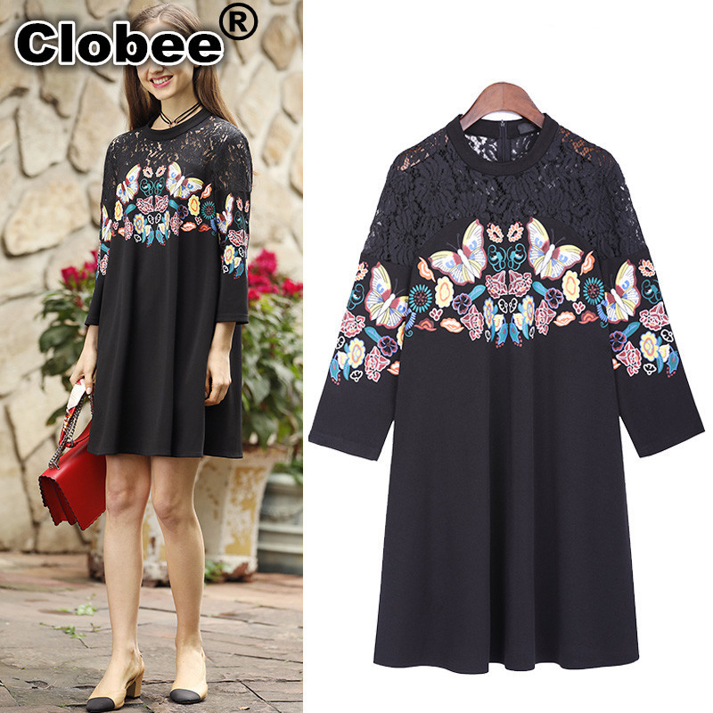 Clobee XXXL 4XL 5XL Plus Size Women Black Dress 2018 Spring Lace roupas  feminina Tunic Butterfly 4ef5293420c4
