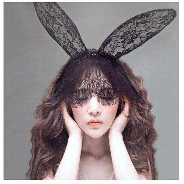 2016 fashion women girl hair bands lace rabbit bunny ears veil black eye mask halloween party - Black Eye Mask Halloween