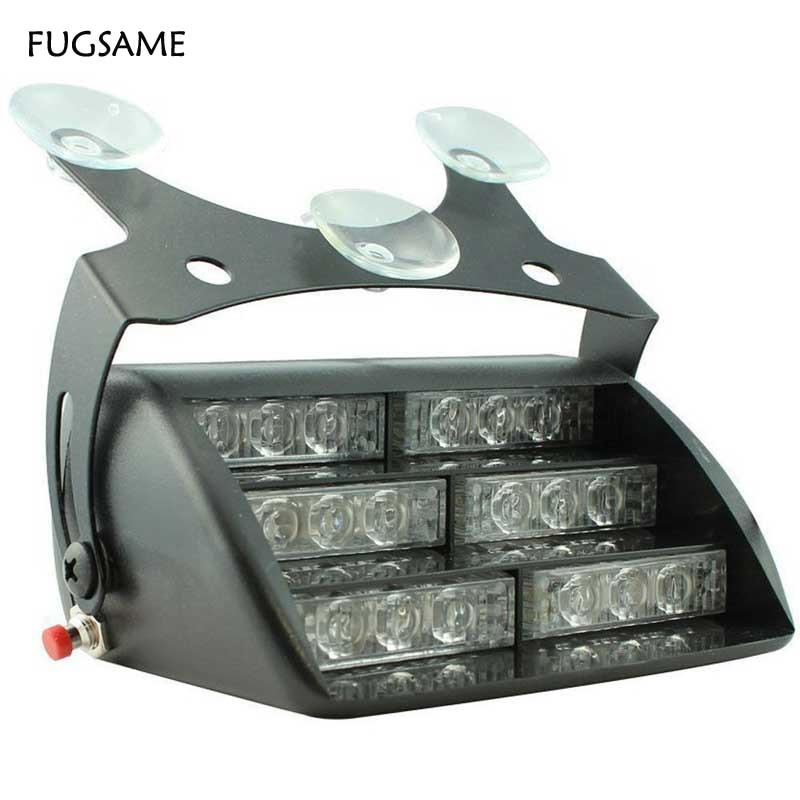 FUGSAME 12V 18LED Car Auto Truck LED Beacon Hazard Emergency Recovery Flashing Warning Strobe Light Amber Red Blue White Mix