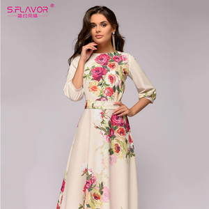Image 3 - S.FLAVOR Floral Printed Women Long Dress Bohemian Style Autumn Maxi Vestidos De 2020 Winter Women Casual Dress