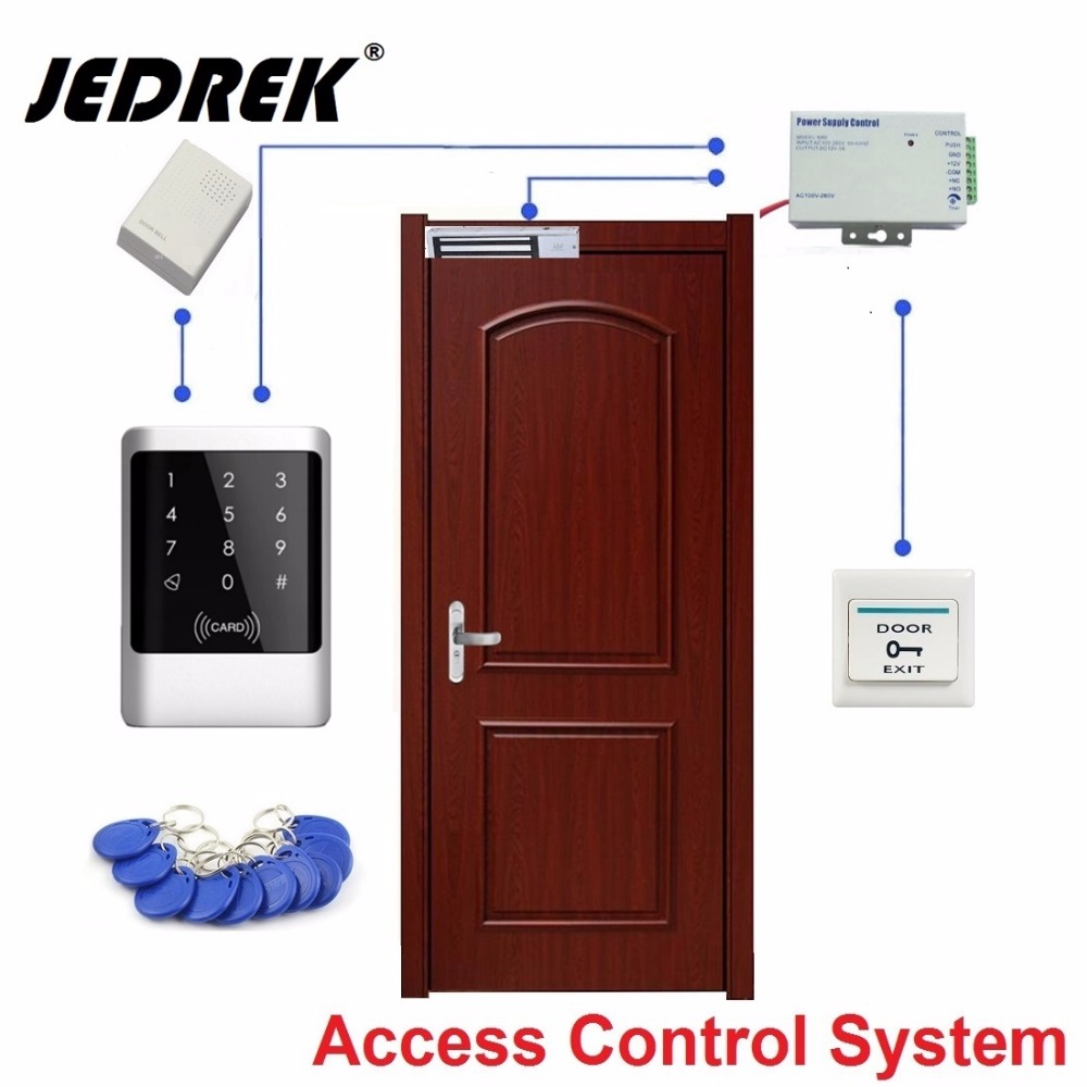 Waterproof Touch Keypad  Door Access Control System Set Magnetic Lock+ Power Supply+Switch high tech door locks apartment combination lock touch keypad for door access