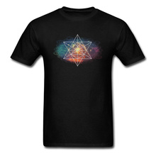 Man High Quality Casual T Shirt Crew Neck Summer/Autumn Pure Cotton Top T-shirts Geometric Galaxy Space Graphic T Shirt crew neck ethnic style geometric graphic sweater