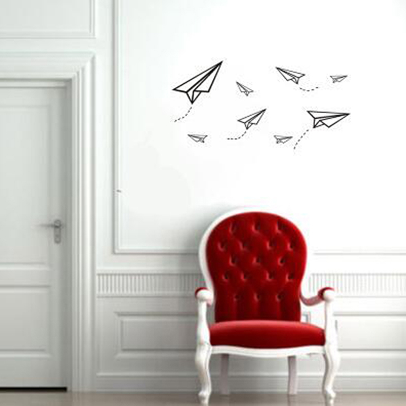 Creative Flying Paper Airplanes Wall Stickers Art Mural For Kids Room Decorations Airplane Wall Stickers image
