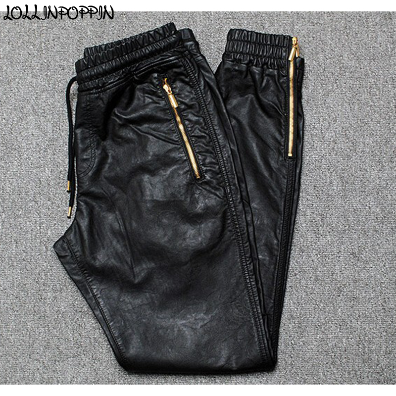 Men Joggers Faux Leather Jogger Pants Side Zipper Hip Hop PU Leather Harem Pants Zippered Leg Opening Pants Drawstring Waist