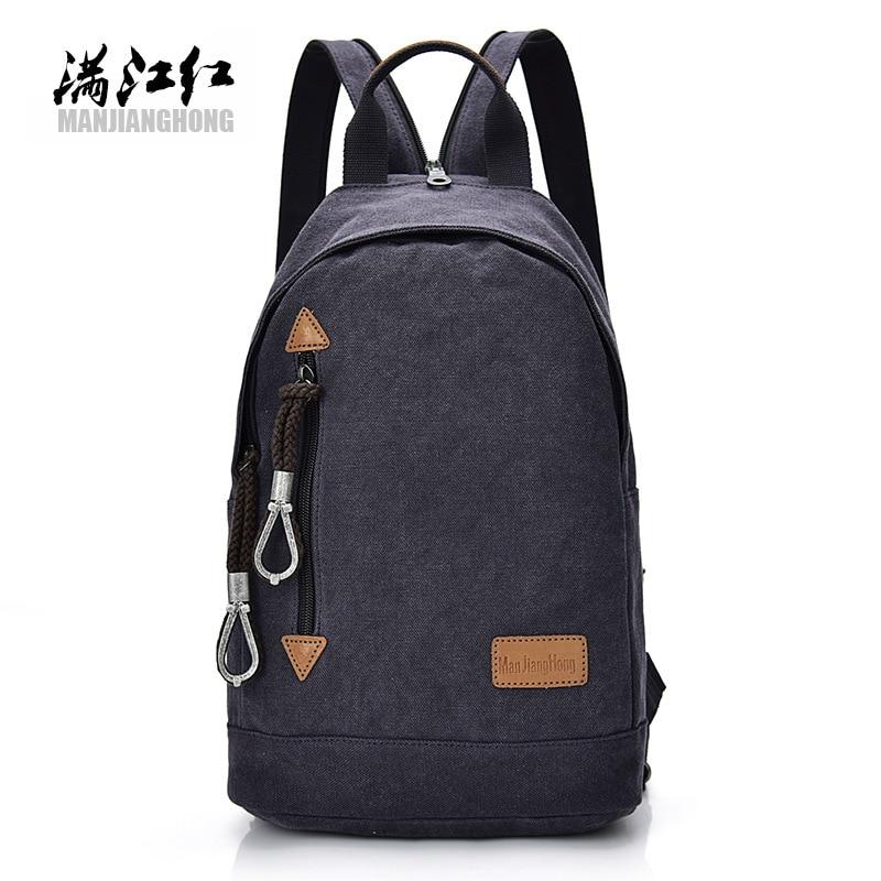 MANJIANGHONG Fashion Men's canvas multi function mini backpack women tablet bag school bags for teenage boys travel backpacks