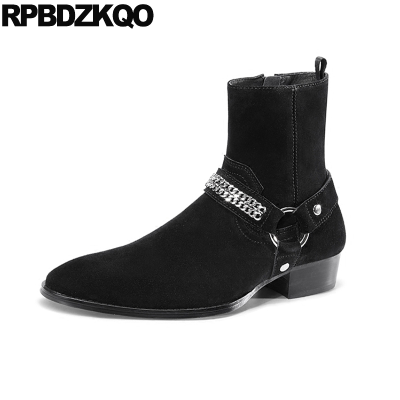 suede riding high quality chunky zipper pointed toe genuine leather black ankle harness boots embellished metalic Men's shoes