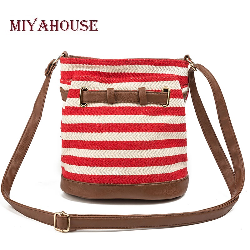 Miyahouse Casual Canvas And PU Design Bucket Shoulder Bag Women Striped Printed Female Messenger Bag Summer Ladies Bucket Bag shoulder bag
