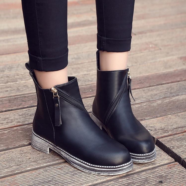Belle Chaussures Nouvelle Taille Femmes Bout Arrivée Zipper Bottes De Cheville Plus Plat Black 1 Court Britannique Style Martin Mode Rond black 2 kOPXZiwuT