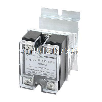 цена на 4-20mA to AC 28-280V 40A Single Phase Aluminum Heat Sink SSR Solid State Relay