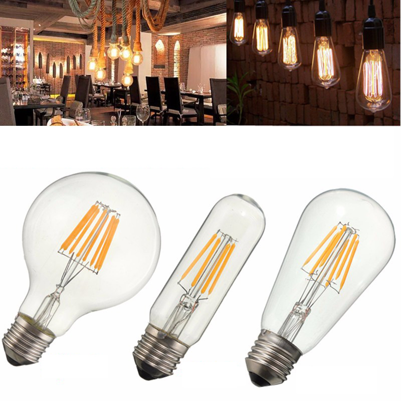 COB LED Light Bulb E27 2W 4W 6W 8W T10 G80 ST58 Vintage Edison Bulb Dimmable Glass Retro Lamp Bulb Warm White Lighting 110V 220V 5w 7w cob led e27 cob ac100 240v led glass cup light bulb led spot light bulb lamp white warm white nature white bulb lamp