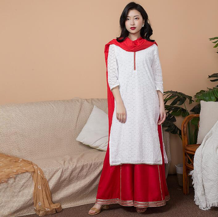 Inde mode femme Styles ethniques ensemble coton inde robe mince voyage Costume élégant dame blanc rouge Top + jupe + écharpe