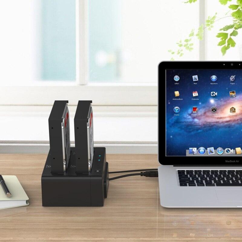 ORICO Station d'accueil 2.5 3.5 double baie USB 3.0 à SATA HDD boîtier ssd disque dur outil gratuit duplicateur 16 to pour Windows Mac OSX9.1 - 6