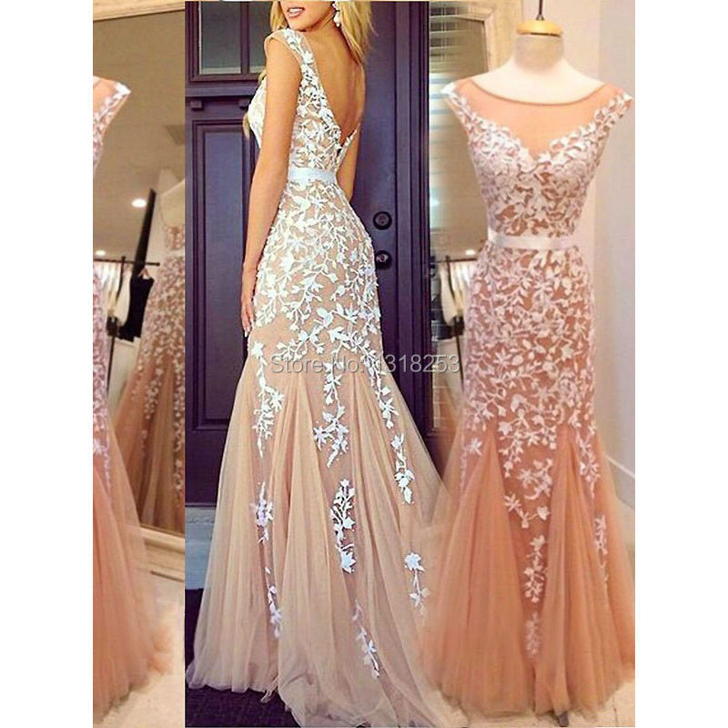 Mermaid Prom Dresses with Lace Appliques plus size Women Long Evening Dress Tulle vestido de festa Robe De Soiree Champagne 2017