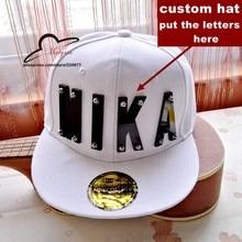 75e1775eb01 Hiphop crystal acrylic letter custom logo products Adjustable Baseball Cap  snapback hats wholesale custom flat brim