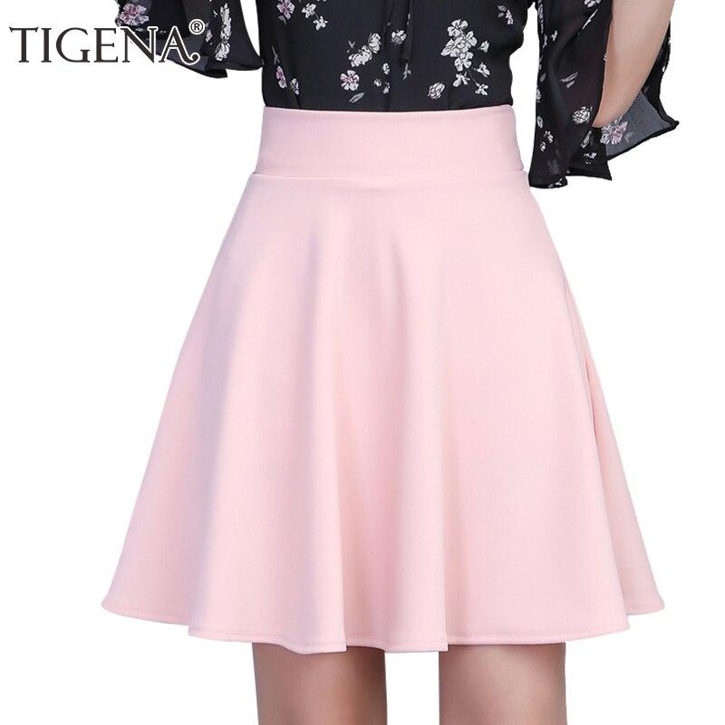 TIGENA Womens Skirt 2019 Summer High Waist Pleated Short Skirt For Women Mini Sun School Tutu Skirt Female Black White Pink Blue
