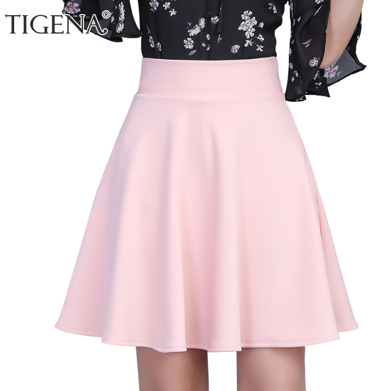 TIGENA Womens Skirt 2019 Summer High Waist Pleated Short Skirt For Women Mini Sun School Tutu Skirt Female Black White Pink Blue