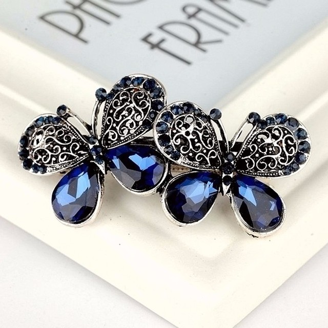 1 Pc Vintage Blue Rhinestone Crystal Double Butterfly Hair Barrette Navy  Stone Girls Hair Clips Hairpins Trendy Hair Accessory 3a1d37f79779