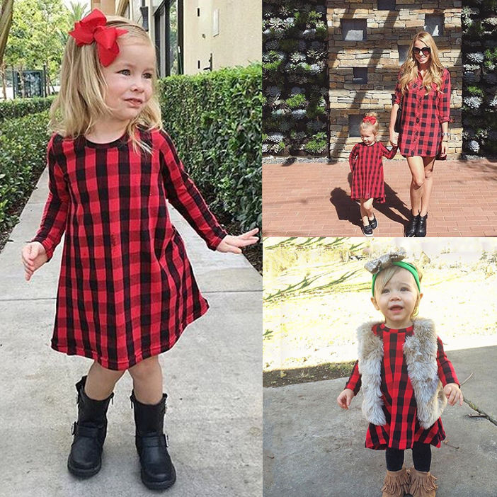 Girl Dress Casual Kids Baby Girls Child Red Plaid Dresses Checked Party Princess Formal Dresses Children Clothing 1-6Y girls europe and the united states children s wear red princess dress child dress kids clothing bow flowers red purple