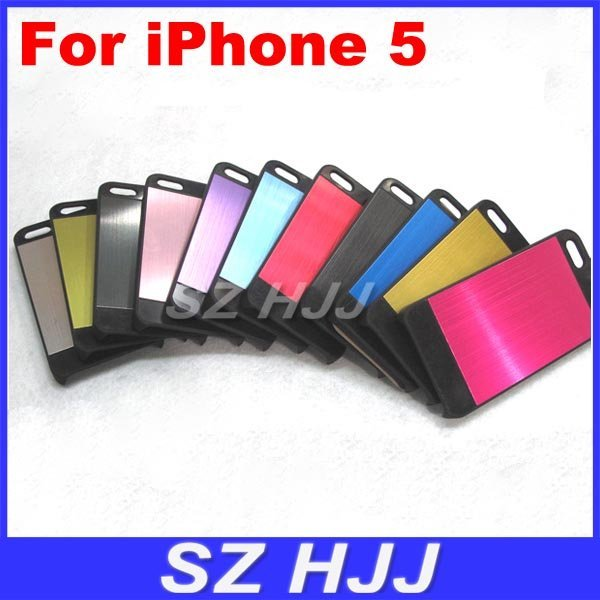 Shiny Cover Case For iPhone5 5S Luxury Brushed Metal Aluminum Chrome Hard Case For iPhone 5 5G 5S