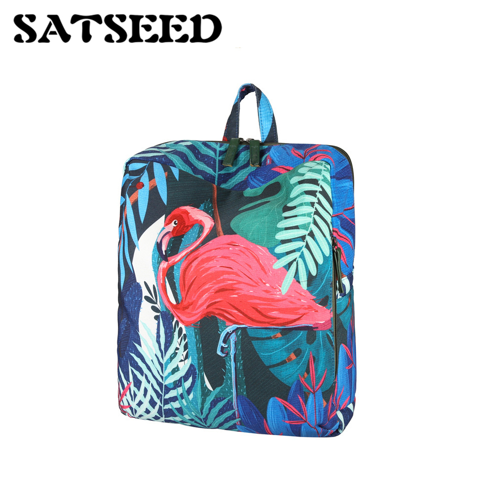 Large Flamingo Koala Rainforest Series Original Figure Canvas Bag Backpack Laptop Girls Backpack