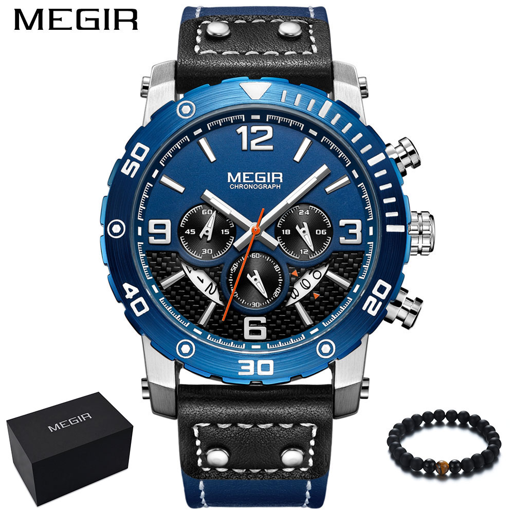 Man Watch MEGIR Luxury Brand Sport Watch Military Leather Band Quartz Wristwatch Waterproof Mens Watches Blue relogio masculino oulm mens designer watches luxury watch male quartz watch 3 small dials leather strap wristwatch relogio masculino