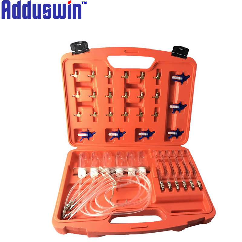 Adduswin higher Quality Diesel Injector nozzle tester fuel flow meter common rail adapter 24v fuel line diagnostic tool set